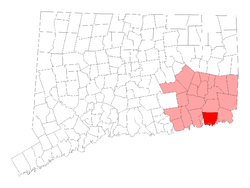 Location of the Town of Groton within New London County, Connecticut