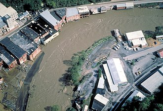 Grundy, Virginia - Aerial view of flooding on the Levisa Fork River in Grundy, Virginia in 1984
