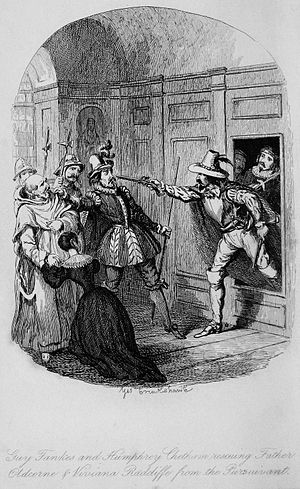 Guy Fawkes (novel) - Frontispiece illustration by George Cruikshank to the 1841 first edition