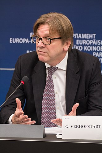 Guy Verhofstadt - Image: Guy Verhofstadt EP press conference 3
