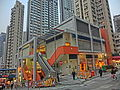 HK SYP Centre Street evening Sai Ying Pun Market escalators n Island Crest facades Mar-2014.JPG