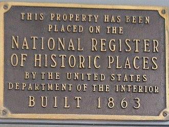 Lathrop House (Redwood City, California) - Image: HMDB Lathrop House NRHP plaque
