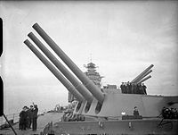 Guns of HMS Rodney at maximum elevation, 1940