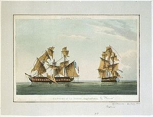 Action of 10 August 1805 - The battle-scarred HMS Phoenix and Didon shortly after their engagement on 10 August 1805, depicted by Thomas Whitcombe
