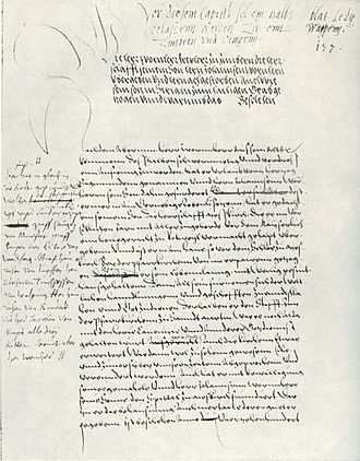 Zimmern Chronicle - A page from manuscript A showing Froben Christopher's corrections