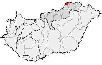 Aggtelek Karst - Location of Aggtelek Karst (in red) within physical subdivisions of Hungary