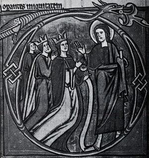 Haakon the Young - King Haakon IV, Queen Margrete Skulesdatter, and their son Haakon the Young, from a page in a psalter owned by Margrete.