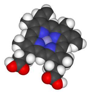 Heme - Space-filling model of the Fe-protoporphyrin IX subunit of heme B.  Axial ligands omitted.  Color scheme: grey=iron, blue=nitrogen, black=carbon, white=hydrogen, red=oxygen.