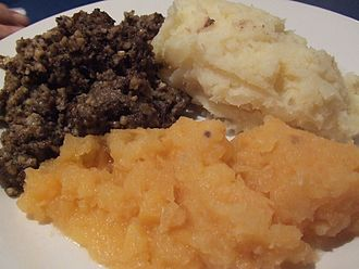 Scottish cuisine - Haggis, neeps and tatties