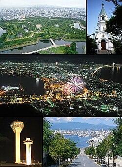 Clockwise from the top: Goryokaku, Hakodate Orthodox Church, Night View from Mount Hakodate, Goryokaku Tower, Hachiman-Zaka and Hakodate Port