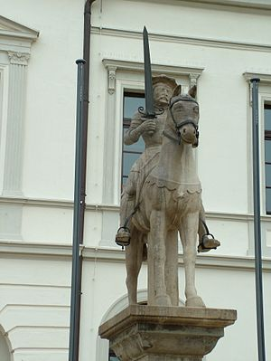 Veillantif - Equestrian statue of Roland astride Veillantif in Haldensleben, Saxony-Anhalt, Germany, in front of the town hall.