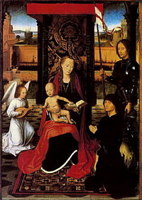 Hans Memling The Virgin and Child with Angel Saint Georges and Donor 1470 1480.jpg