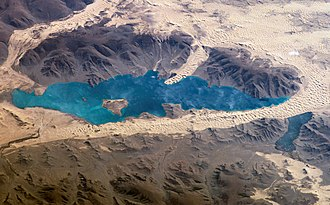 Khar Lake (Zavkhan) - Image made from ISS, south on top, 2006-09-07