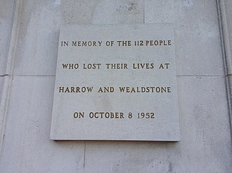 Harrow and Wealdstone rail crash - The disaster memorial stone plaque on display at the north entrance of Harrow and Wealdstone railway station