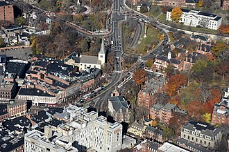 Harvard Square - Aerial view of the Mass Ave/Brattle Street junction, with Harvard Yard at the right