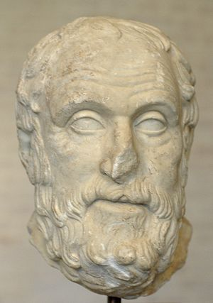 Head of the philosopher Carneades (215–129 BC)...