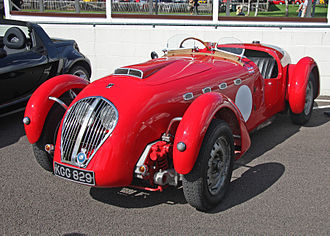 Healey Silverstone - Silverstone first registered 4 May 1950 visiting Goodwood 2009. Note the headlights behind the grille.