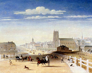 Swanston Street, Melbourne - Henry Burn, Swanston Street from Princes Bridge, 1861.