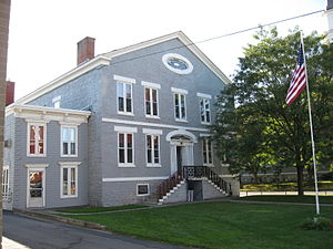 Herkimer (village), New York - Historic Herkimer County Jail, where Chester Gillette was held during his 1908 trial for the murder of Grace Brown (2009 photo). The case inspired Theodore Dreiser's An American Tragedy.
