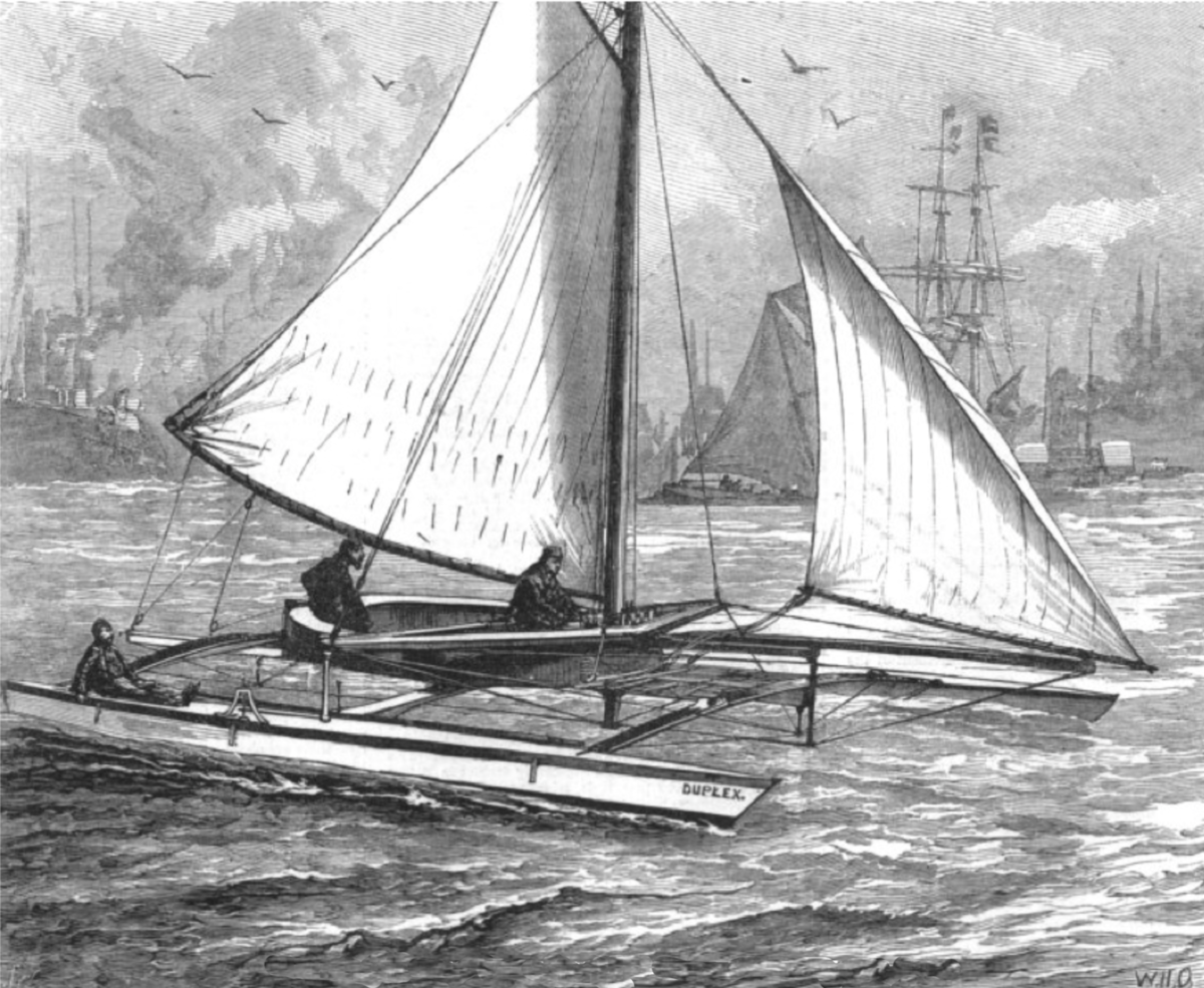 Herreshoff Duplex Catamaran sailing in the Thames River--1880.png
