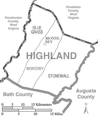 Highland County, Virginia - Map of Highland County showing magisterial districts