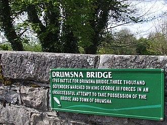 Drumsna - Plaque on bridge. 1795 rebellion May 2010