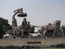 Bronze Chariot with Lord Krishna and Arjuna in Kurukshetra.
