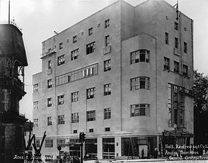 Holt Renfrew - Holt Renfrew's Montreal store, designed by the Canadian architectural firm Ross and Macdonald, under construction in 1937.  The Art Deco structure was completed the same year as the chain's 100-year anniversary.