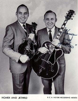 """Homer and Jethro - """"Jethro"""" (left) and """"Homer"""", late 1960s"""