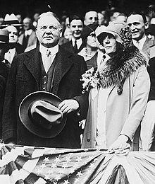 12677e043bfa20 President Herbert Hoover attends a game at Shibe Park