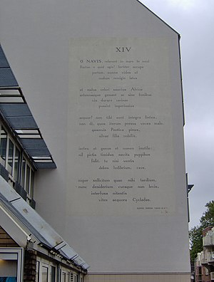 Horace - Odes 1.14 – Wall poem in Leiden