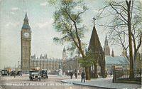 Houses of Parliament and Big Ben, James Henderson postcard, sent 1918 02.jpg