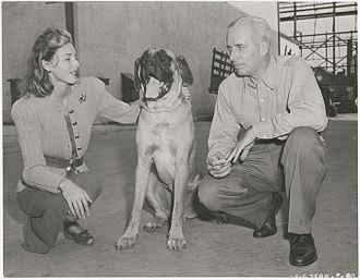 Slim Keith - Slim Keith with Howard Hawks and dog