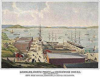 Hugo Wilhelm Arthur Nahl - Image: Hugo Wilhelm Arthur Nahl 1857, Lombard, North Point and Greenwich Docks, San Francisco Bay