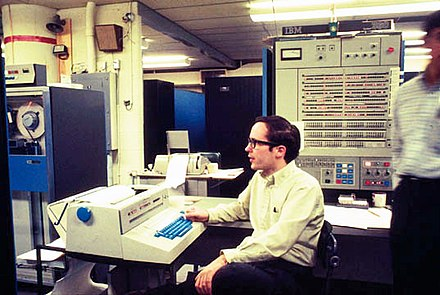 An IBM System/360 in use at the University of Michigan c. 1969. IBM360-67AtUmichWithMikeAlexander.jpg