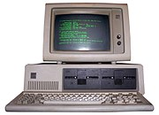 IBM PC with green monochrome display.