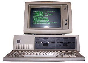 Monochrome monitor - An IBM computer with a green monochrome monitor