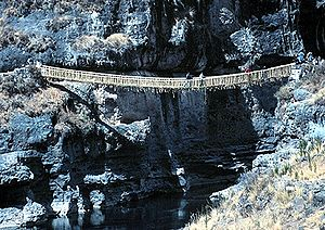 Inca road system - Suspension bridge Q'eswachaca