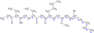 IUPAC nomenclature of organic chemistry - Image: IUPAC naming example with carbons