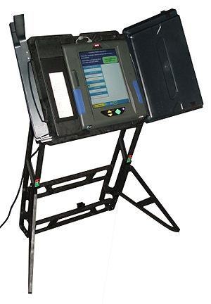 Voter-verified paper audit trail - An ES&S DRE voting machine with VVPAT attachment