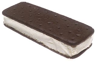 Ice cream sandwich Frozen dessert typically composed of ice cream sandwiched between two biscuits