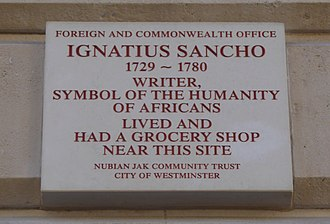 Ignatius Sancho - Plaque in King Charles Street, City of Westminster marking the location of Sancho's grocery store