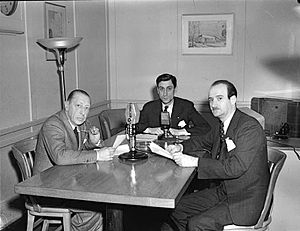 Symphony in Three Movements - Stravinsky (left), Roger Baulu, and Jean-Marie Beaudet at Radio-Canada, Montreal, 4 March 1945