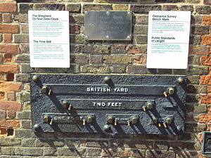 Foot (unit) - The unofficial public imperial measurement standards erected at the Royal Observatory in Greenwich in the 19th century