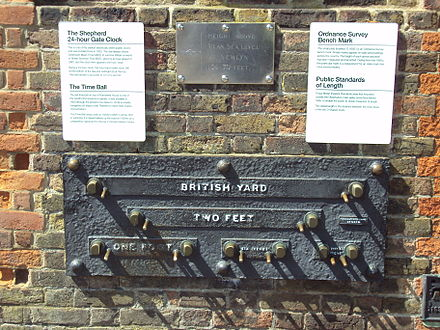 The unofficial public imperial measurement standards erected at the Royal Observatory in Greenwich in the 19th century Imperial measurement standards, Greenwich.JPG