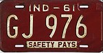Indiana 1961 license plate - Number GJ 976.jpg