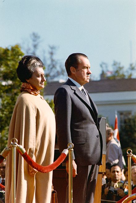 The Prime Minister of India (Indira Gandhi) and the President of the United States of America (Richard Nixon) in 1971 Indira and Nixon.JPG