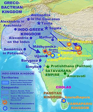 Post-Mauryan coinage - Illustration of the possible territories and forays into India of the Indo-Greeks.