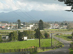 A view of Inglewood from Lincoln Road, with Mount Taranaki/Egmont in the background, hidden by cloud