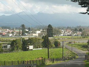 Inglewood, New Zealand - A view of Inglewood from Lincoln Road, with Mount Taranaki/Egmont in the background, hidden by cloud